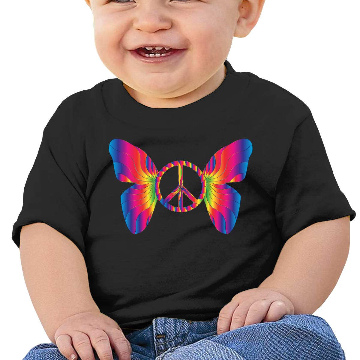 Peace Sign Butterfly Baby T-Shirt Infant Boy Girl Cotton T Shirts Cartoon Tops for 6M-2T Baby