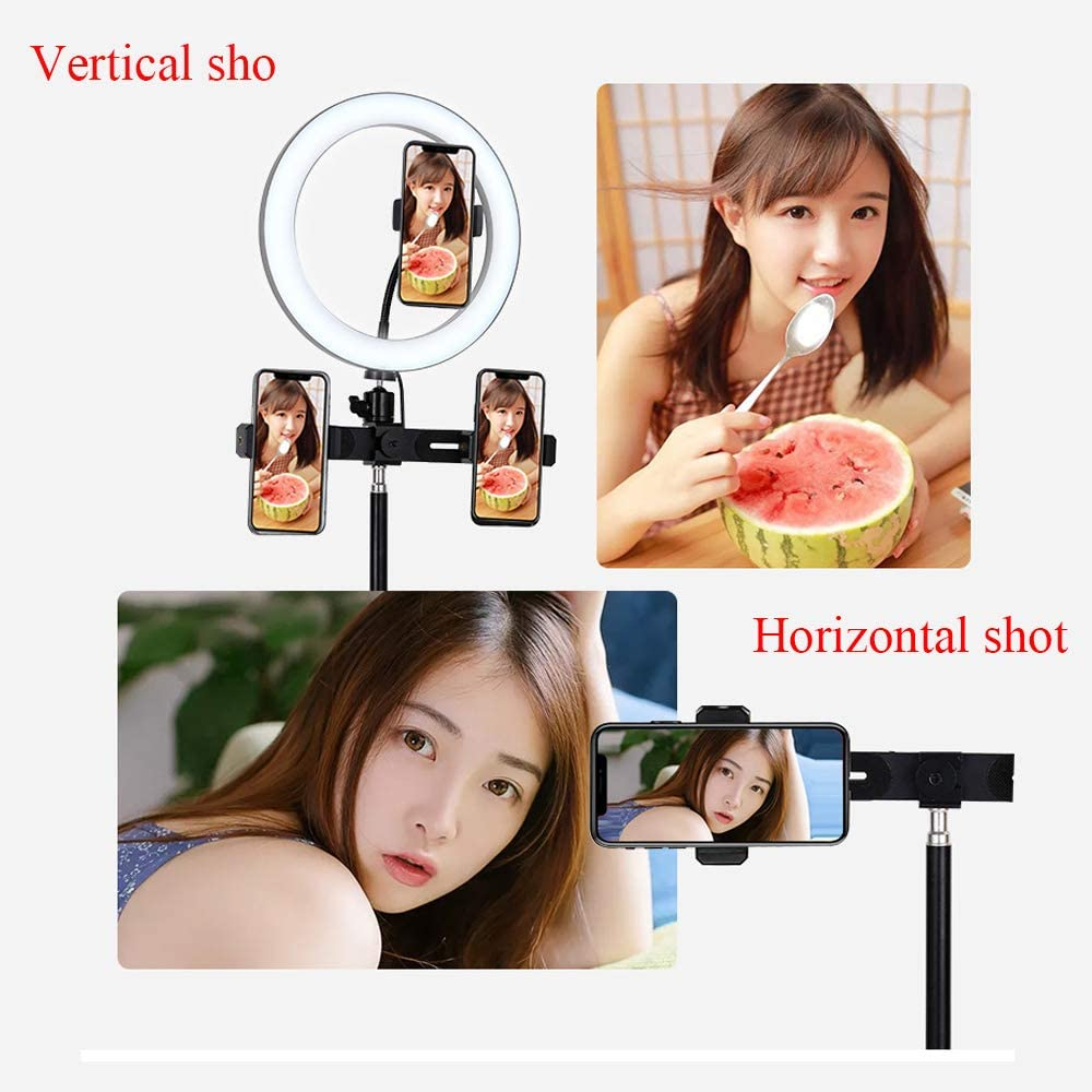 JION Doost Ring Light with Mobile Phone Holder for Live and Makeup Ubeesize Led Camera Light Flexible Long Arm Including Self-Timer Remote Shutter Compatible with Android Phone iPhone