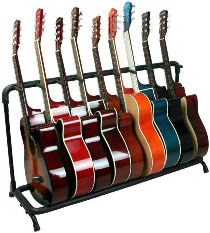 Doubleblack Soporte 9 Guitarras Universal Guitar Stand Rack Plegable Base Pie de Guitarra Multiple Espanola Suelo Acustica Electrica Metal Negro