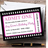 Movie Ticket Pink Personalized Birthday Party Invitations