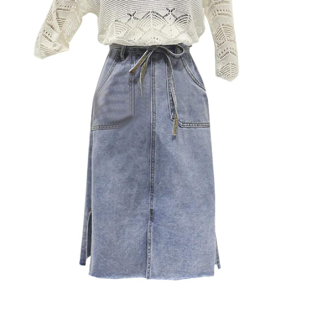 Women Bowtie Mid-Length Straight Leg Cut Out High Waist Denim Skirt Blue L