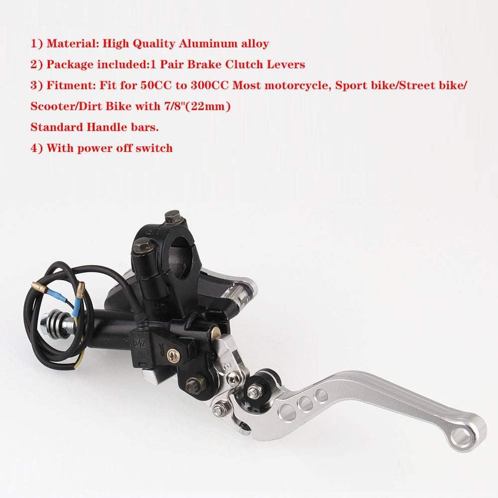 1 Paire de Levier dembrayage de Frein hydraulique avec r/éservoir dhuile Transparent Black Scooters de Course de Moto 7//8universels