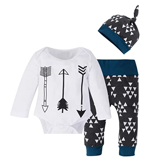 241b056d98dc FORESTIME Newborn Kids Baby Girls Boys Outfits Clothes Printing Romper  Tops+Pants+Hat Set