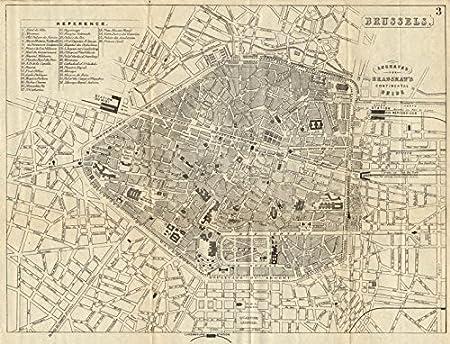 BRUSSELS BRUSSEL BRUXELLES. Antique town plan. City map. Belgium ...