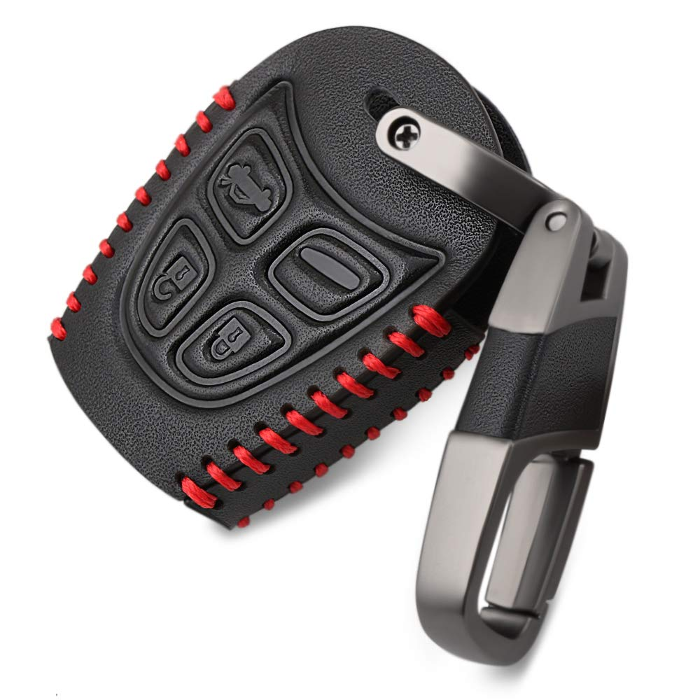 Car Key Cases Fit SAAB 9-3 93 2003-2009 4button Genuine leather Key Cover Bag Fob Shell