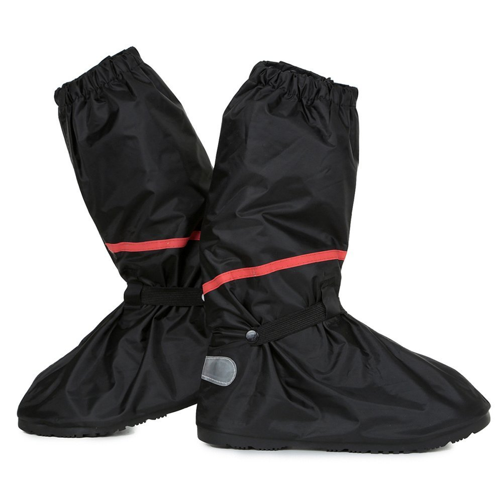Anti Slip Waterproof Motorcycle Rain Boots Shoe Covers size Men 10 - 11 for Bike Riding Cycling with Sturdy Zipper Elastic Bands Reflective Heels and Red Line - Black by Go Motorcycle Boot Covers