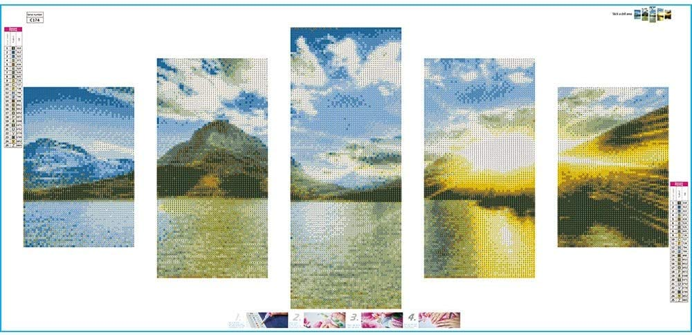 Quaanti 5d DIY Diamond Embroidery Seaside Sunset Diamond Painting Cross Stitch Full Square Drill Rhinestone Mosaic Beach Landscape Home Decor E