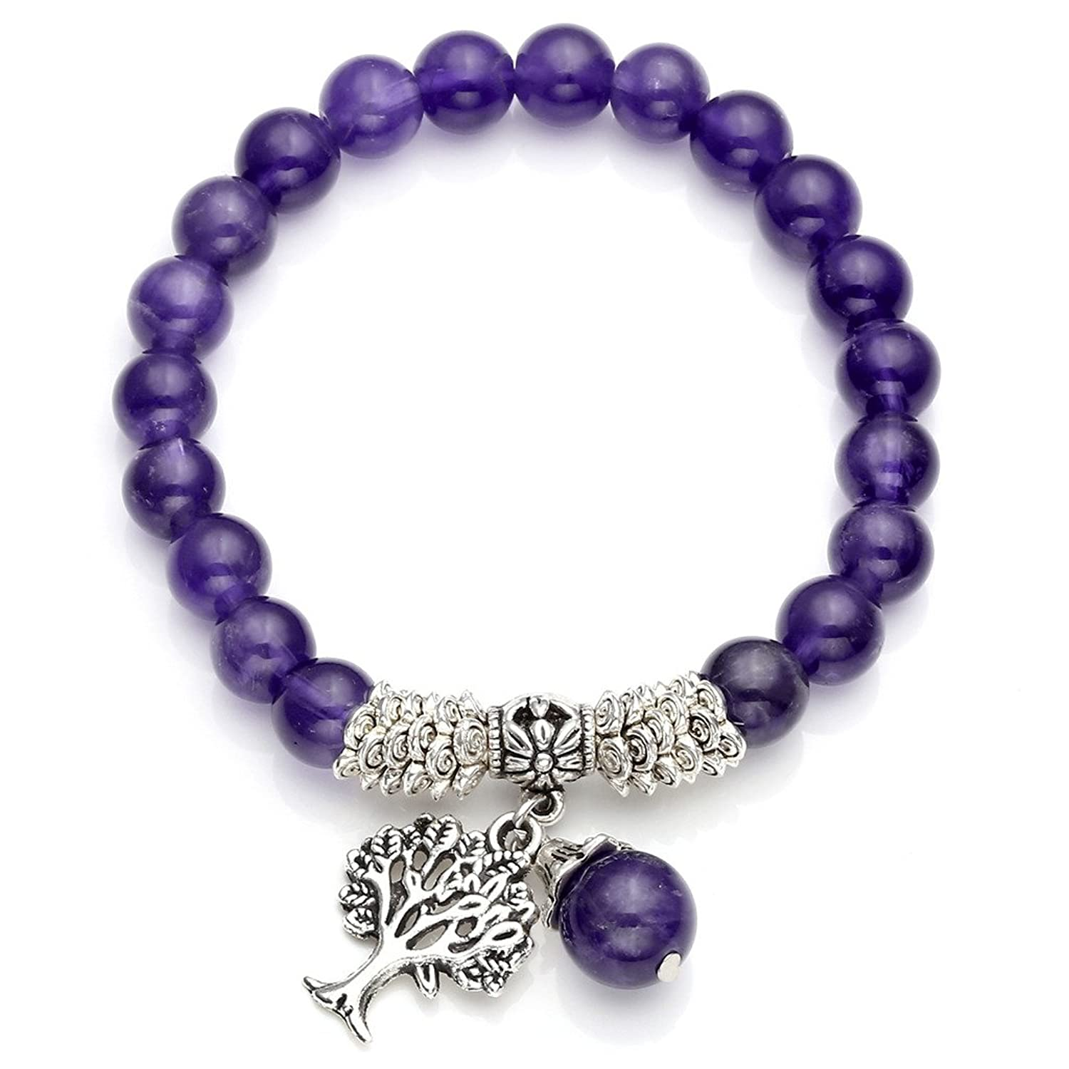 Jovivi 8MM Purple Amethyst Natural Gemstone Tree of Life Lucky Charm Stretch Bracelet,Mothers Day Gifts