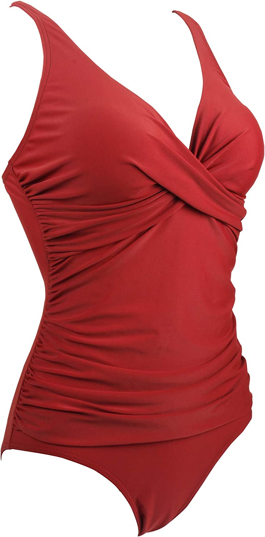Viloree Womens Retro Slimming One Piece Swimming Costume Tummy Control Swimsuits