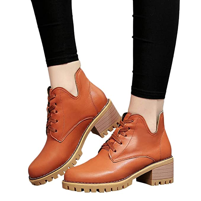 9a84c8b0e37bb Amazon.com  Faionny Women Boots Wedge Ankle Boots PU Leather Boots Square  Heel Women Shoes Lace Up Shoe Boot Warm Snow Boots  Clothing