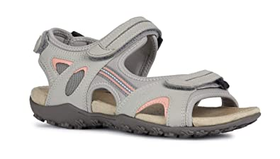 huge selection of ae599 8abf2 Geox Sandal STREL D9225B Damen Trekking Sandalen,Frauen  Outdoor-Sandale,Sport-Sandale,Aussensteg,3-Fach Klett,LT Grey,41