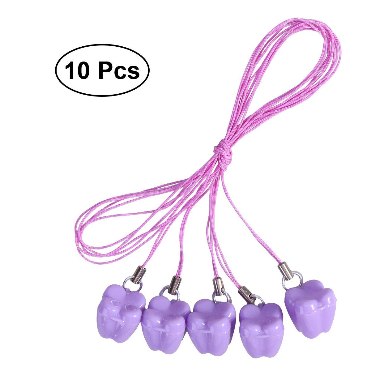 OUNONA Milchzahndose Zahndosen Zahnbox für Milchzähne Kinder Halskette mit Anhänger Lila 10 Stücke