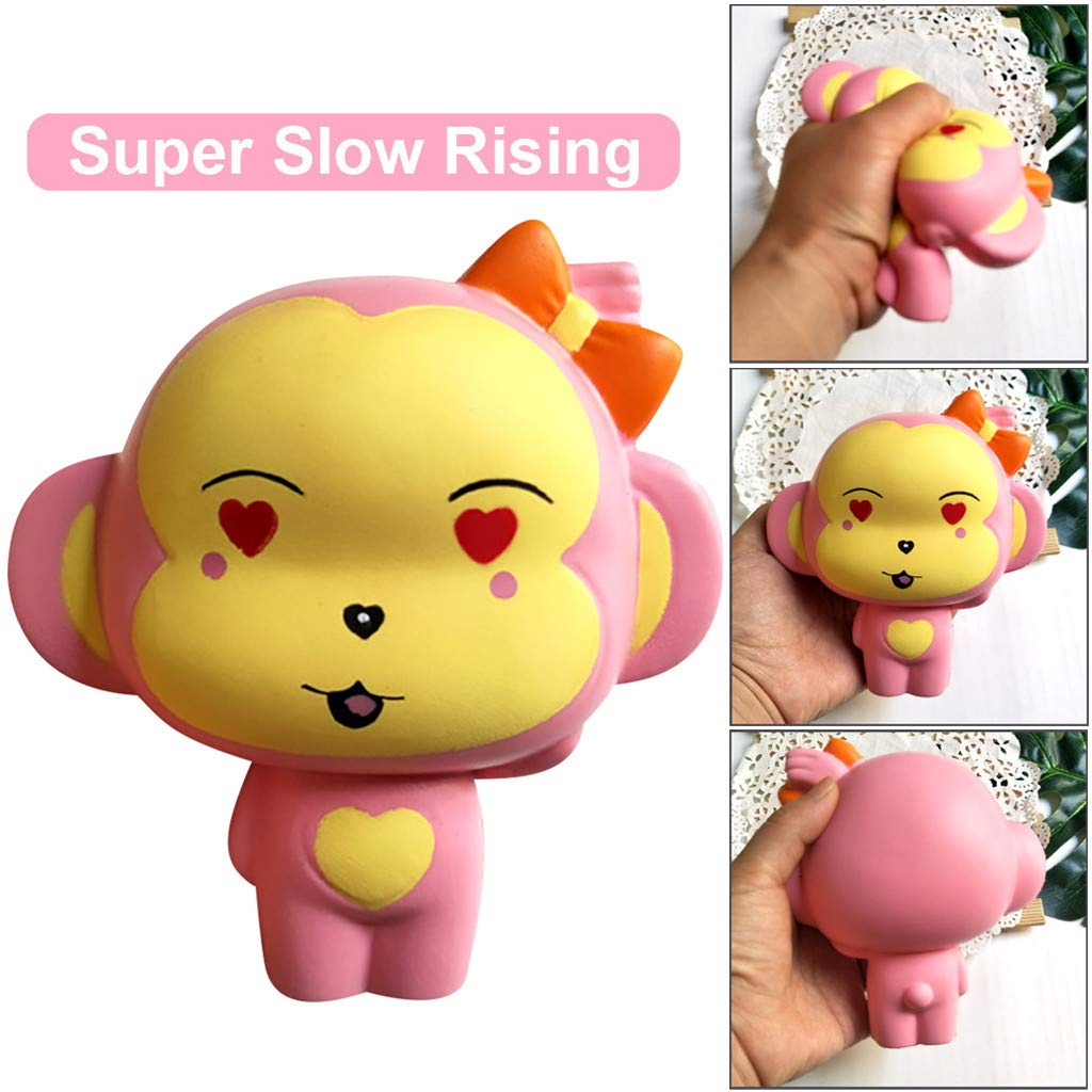 Monkey Squishy Toys Jumbo Scented Charm Squeeze Toys Stress Relief Animal Toys Slow Rising Kawaii Sensory Fidget Hand Toy for Kids Adults (Pink) by Codiak-Entertainment (Image #6)