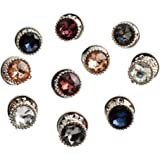 10 Pieces Coloured Metal Pearl Gifts Decorate Buttons Buckle Tie Tacks Pin Back for Women Shirt Sweater (Diamante Style)