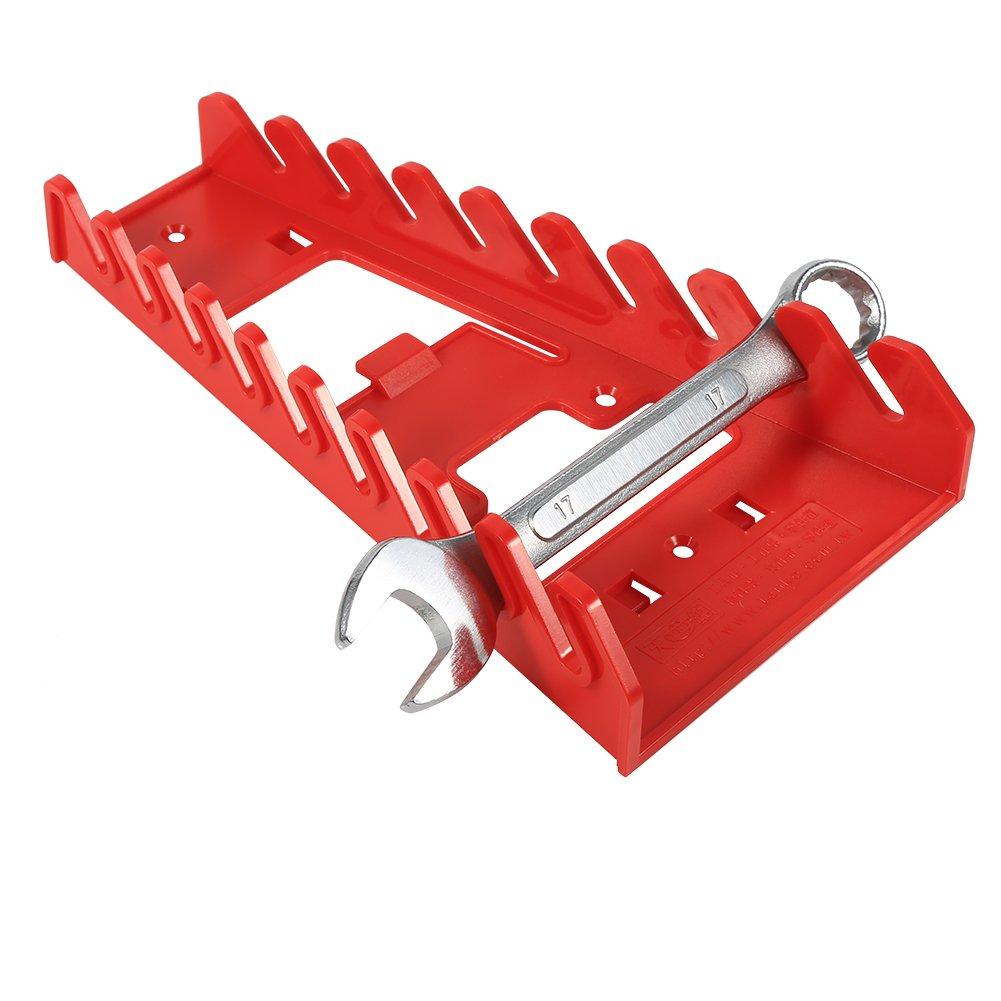 TOPINCN Supporto per 9 Chiavi Combinate Portautensili a chiave a 9 slot Portautensili standard Portautensili a chiave in plastica rossa