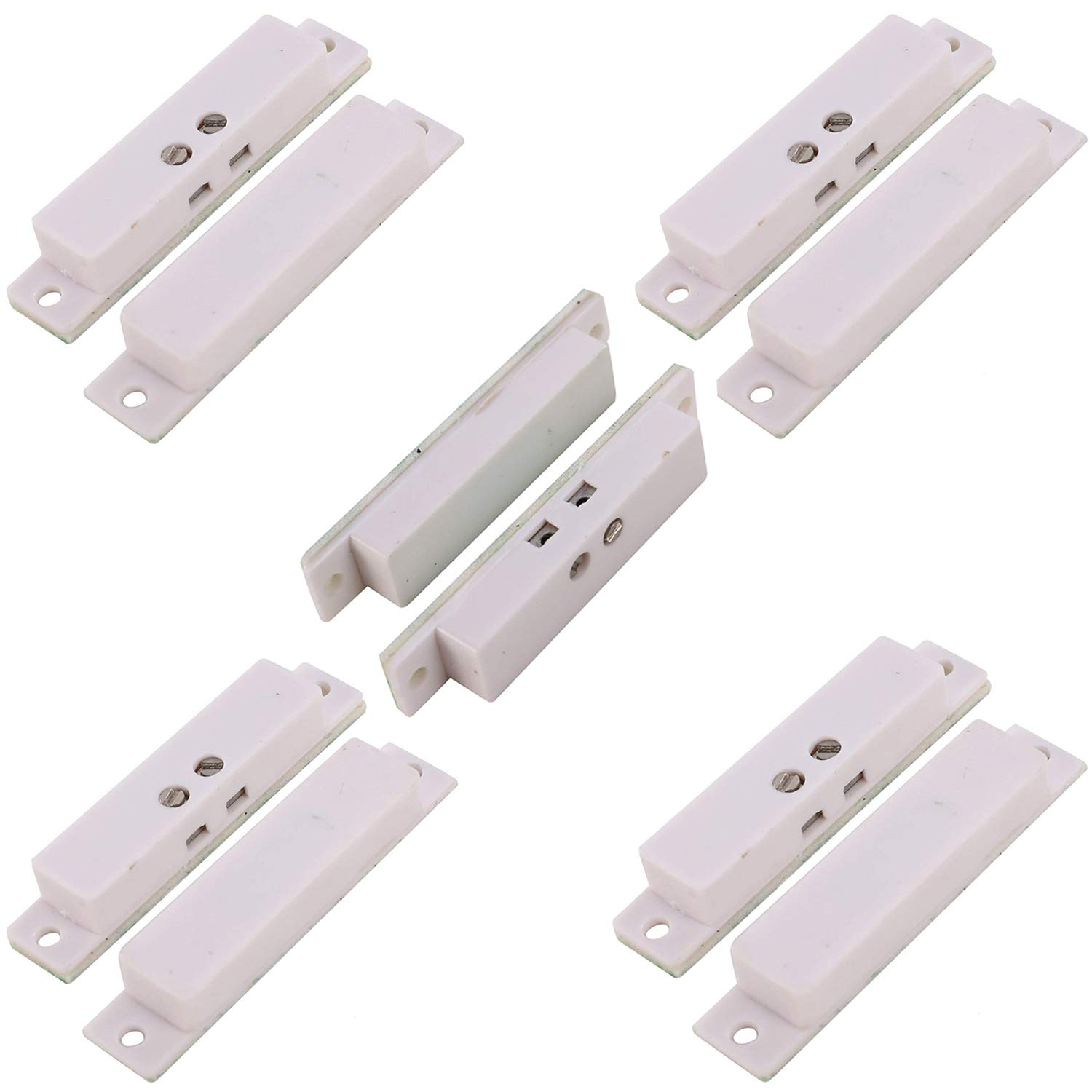 UHPPOTE NC Wired Magnetic Alarm Window Door Contact Sensor Detector Reed Switch White (Pack of 5)