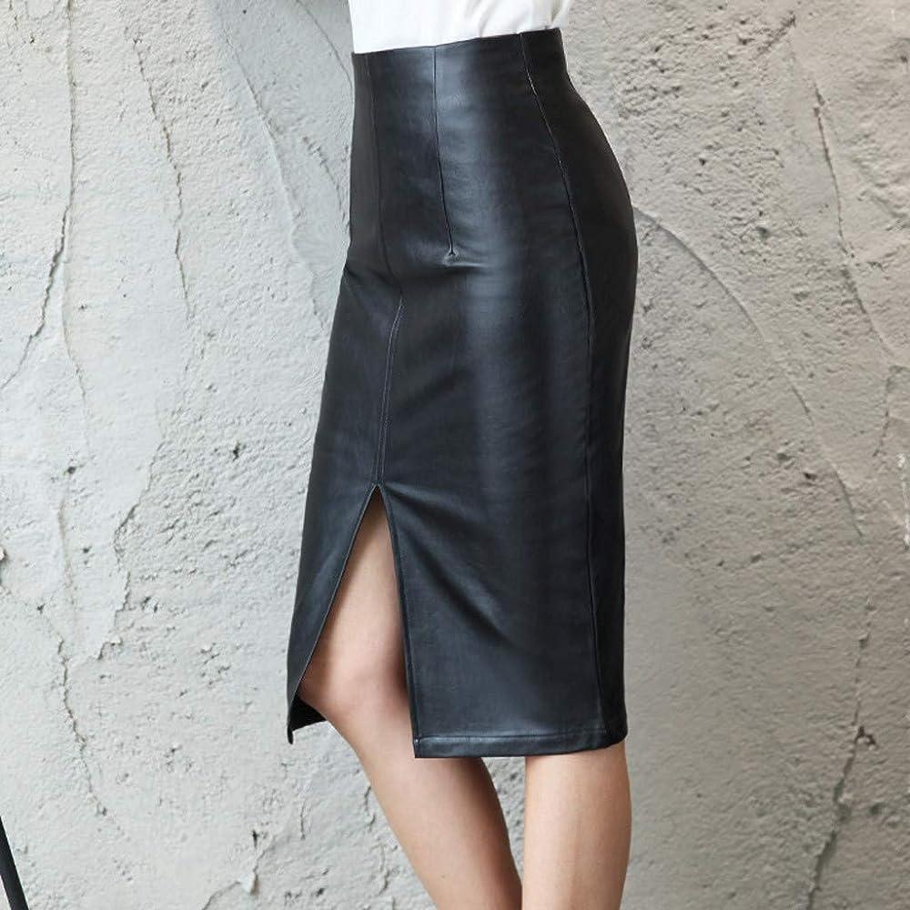 beautyjourney Falda Bodycon de Cuero PU para Mujer Falda de Ocio ...