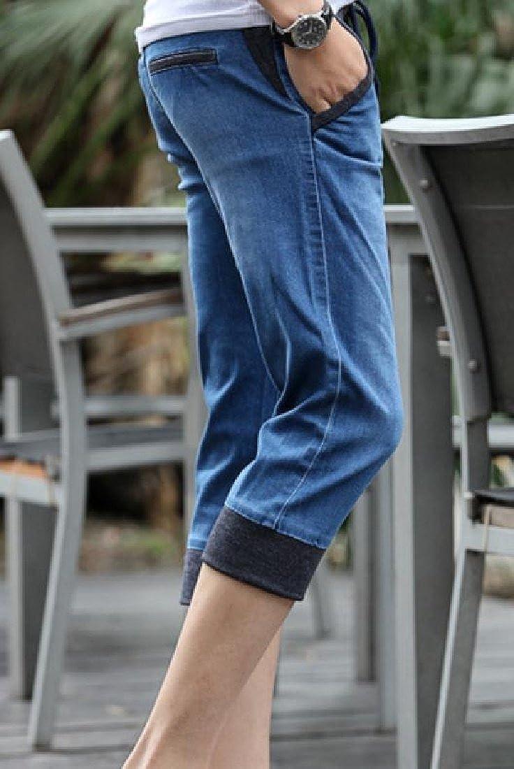 Fseason-Men Faded Drawstring High Street Modern Fit Jean Short