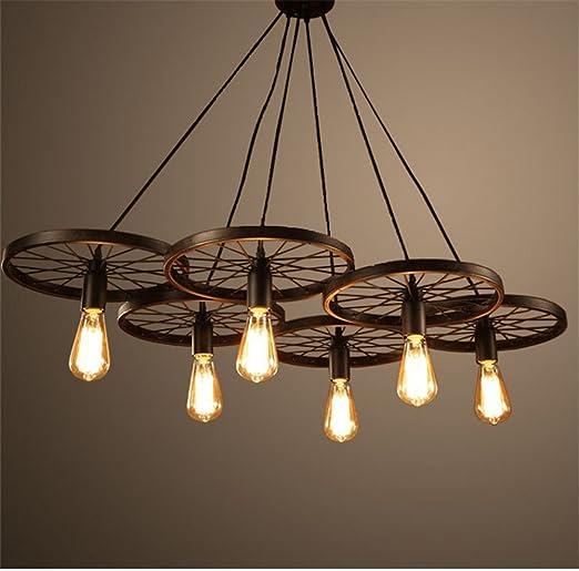 Vi-xixi Retro Industrie Design Pendelleuchte im Loft-Style Esszimmer  Vintage Retro Hängeleuchte Lampe Wohnzimmer Mode Kreative Persönlichkeit  Rad ...