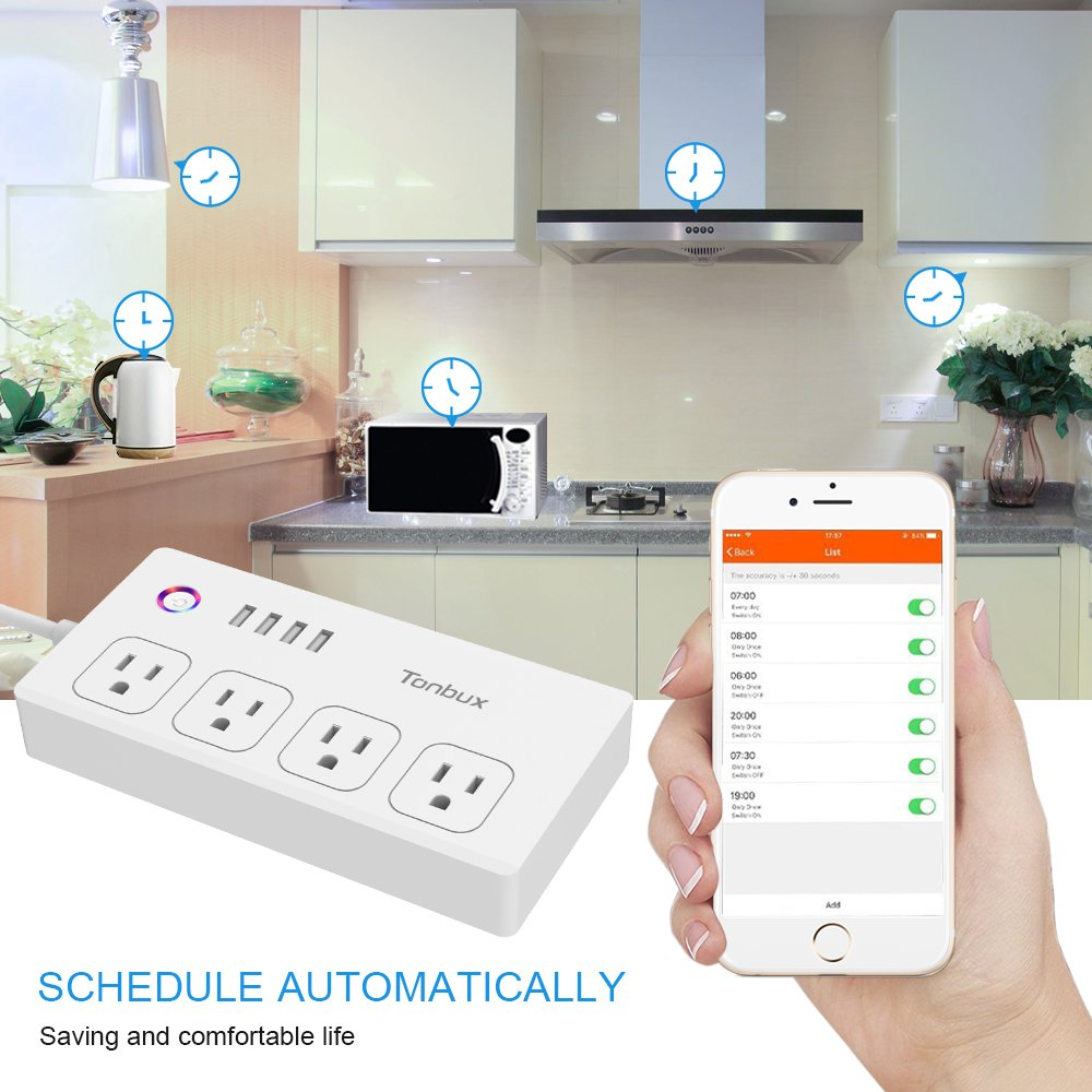 WiFi Smart Power Strip Surge Protector 1700 Joule with Switch 4 Outlets 4 Charge USB Ports and 5-Foot Extension Cord, App Control Your Devices from Anywhere Anytime (White)