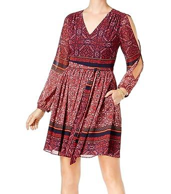 82117895fb047 Vince Camuto Womens Cold Shoulder Paisley Print Mini Dress Navy 10 ...