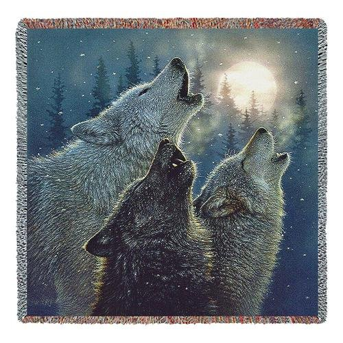 (Pure Country Weavers | in Harmony Wolves Howling Moon Woven Tapestry Throw Blanket Cotton USA 54x54 Cotton )