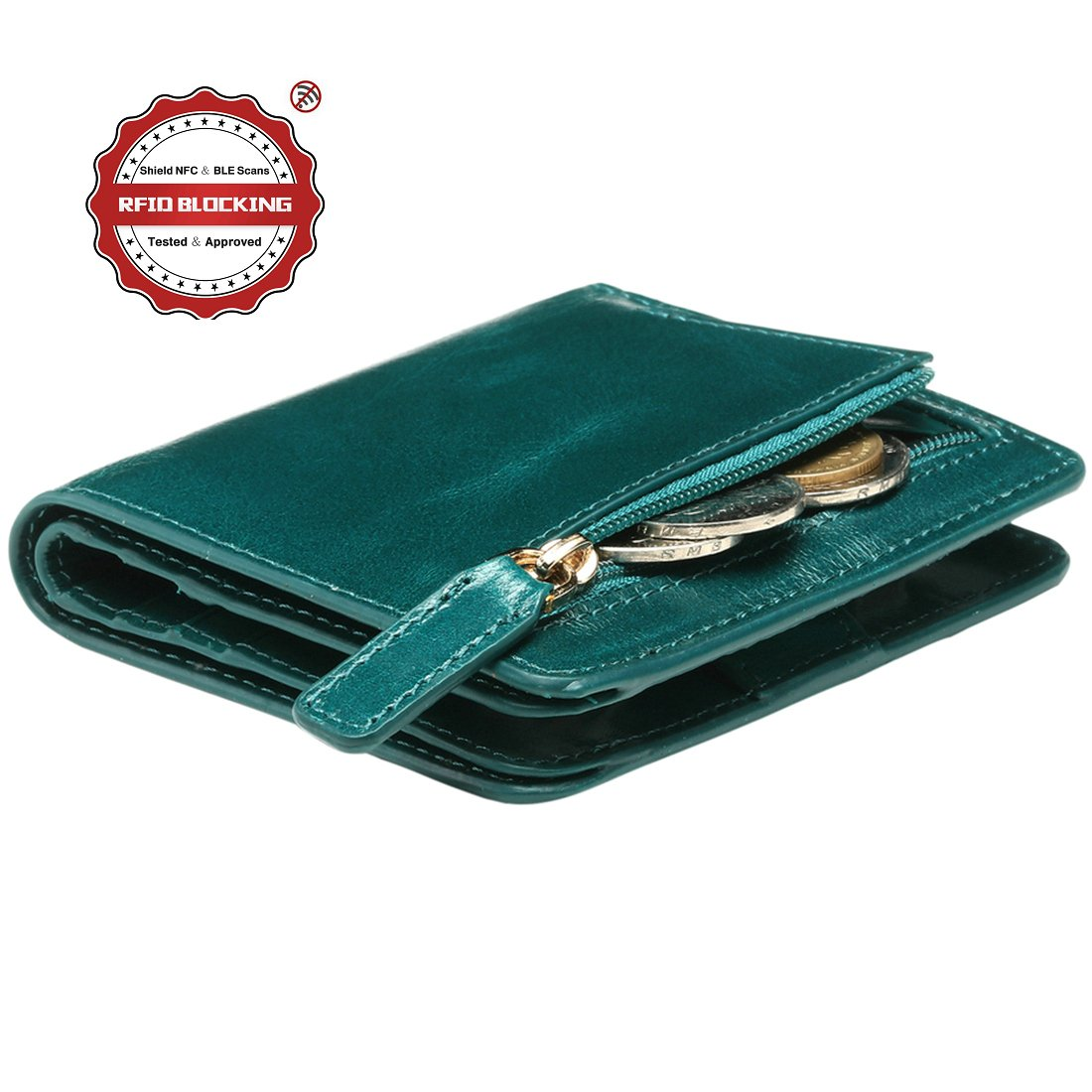 Itslife Women's Rfid Blocking Small Compact Bifold Leather Pocket Wallet Ladies Mini Purse with id Window(Peacock Green)