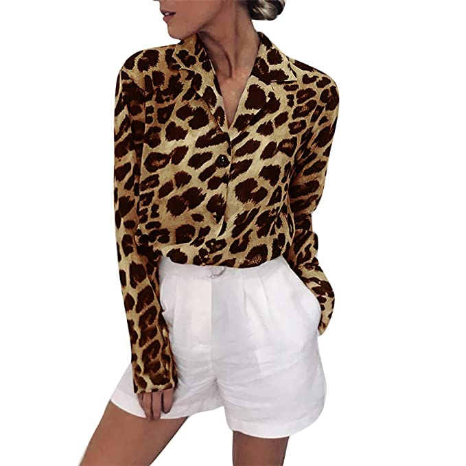 on sale 24629 e3ba5 Suitray Langarmshirts Damen Große Größen Mode Frauen Leopardenmuster Lange  Ärmel Taste Unten Hemden Leopardenmuster Sweatshirts Sweater Pullover ...