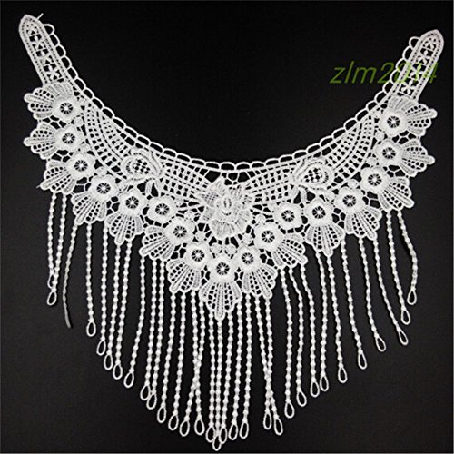 White Floral Tassel Fringe Polyester Embroidered Neckline Lace Trimmings Neck Flower Collar Trim Applique Sew On Decorative Embellishments Clothes Dress Wedding Embroidery Sewing Craft DIY