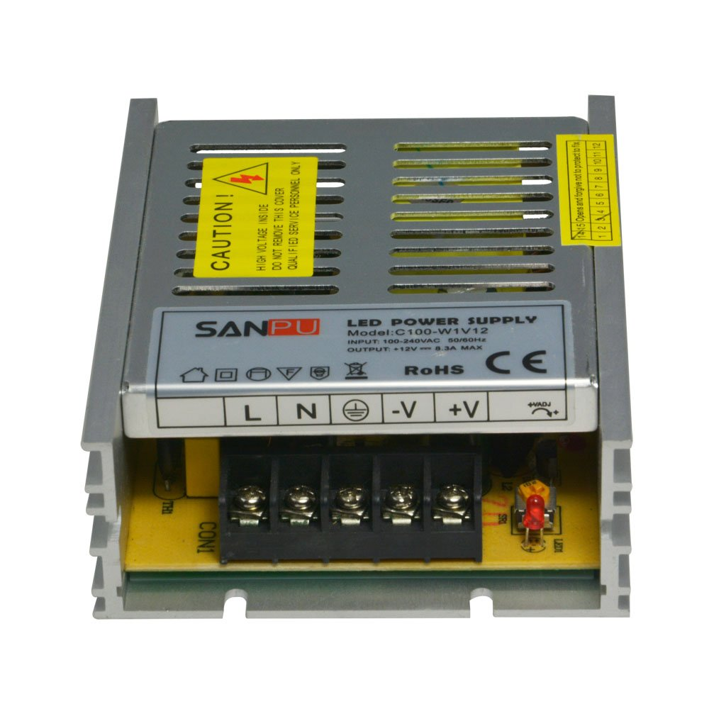 SANPU Ac to Dc LED Lighting Transformer 12V 100W 8A Ultra Thin Aluminum Shell Indoor Use