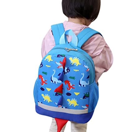 mochilas niña, Sannysis mochilas escolares juveniles, Patrón de dinosaurio (Azul)
