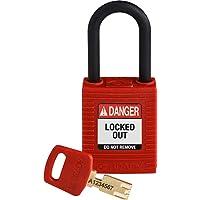 Brady SafeKey - Candado con llave (nailon, 3,8 cm), color rojo