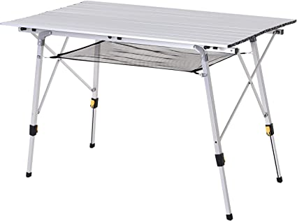 outsunny table pliante en aluminium table de camping table de jardin 6 personnes hauteur reglable sac de transport