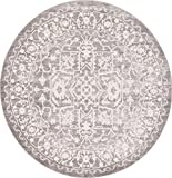 Cheap Unique Loom New Classical Collection Traditional Distressed Vintage Classic Light Gray Round Rug (6′ x 6′)