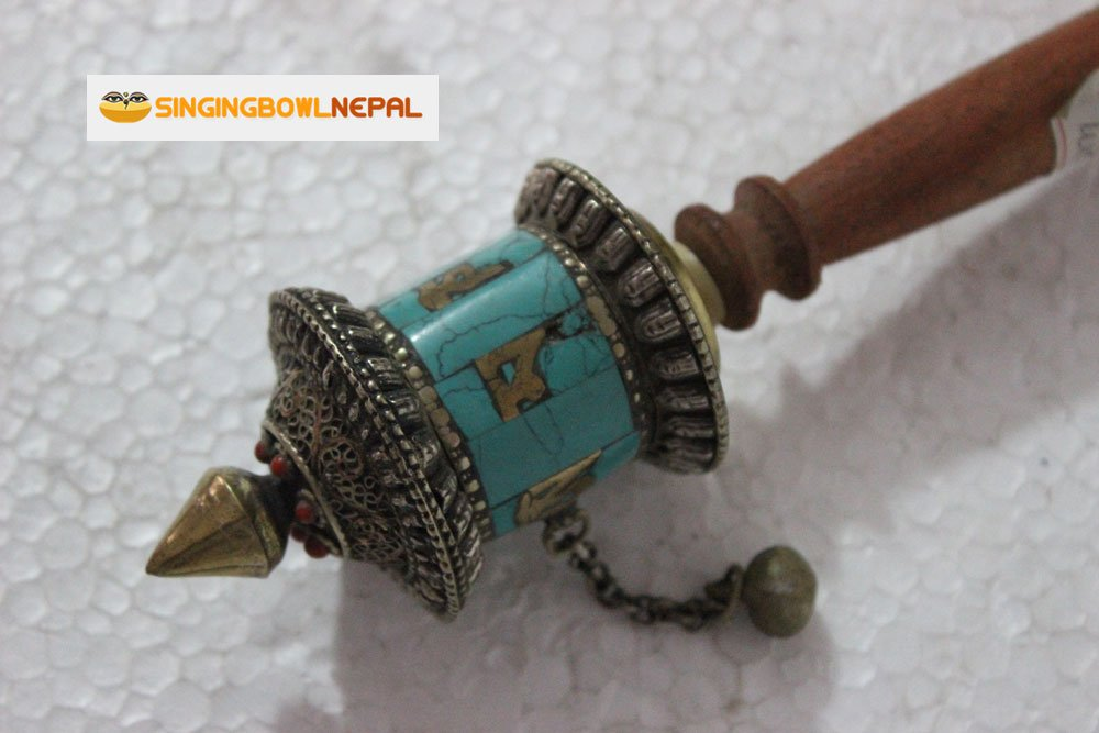 Buddhist Coper & Stone Set Hand-held Prayer Wheel - 8.5 Inch with Authentic Wooden Handle by Singing Bowl Nepal (Image #4)