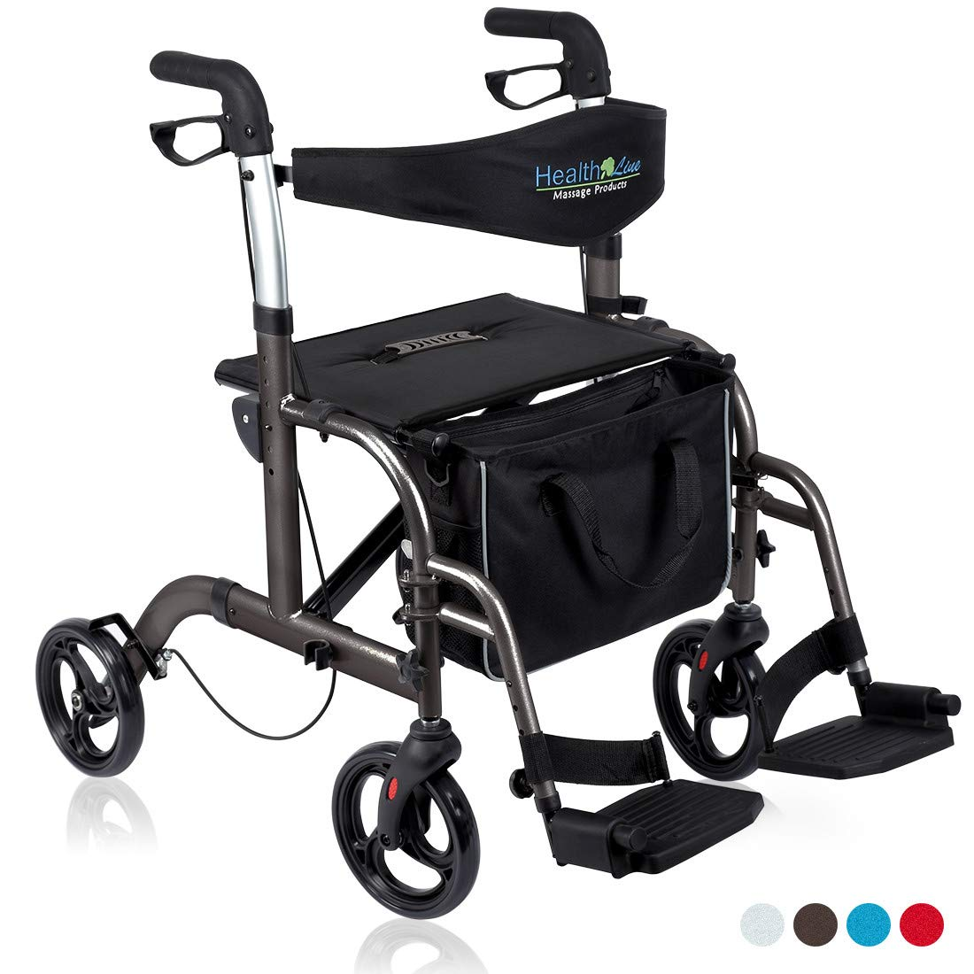 Health Line 2 in 1 Rollator-Transport Chair w/Paded Seatrest, Reversible Backrest and Detachable Footrests, Titanium by HEALTH LINE MASSAGE PRODUCTS