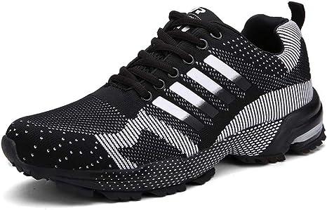WDDGPZYDX Tallas Grandes 46 Zapatillas de Tenis no deslizantes Hombres Zapatos de diseñador de Rayas a Rayas Hombres Zapatos de Hombre Transpirables Zapatos de Pareja Unisex,Negro,5: Amazon.es: Deportes y aire libre