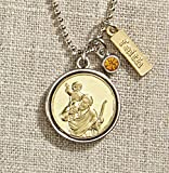 Set of 3 Vintage Blessings St. Christopher Necklace with Silver Chain
