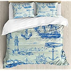 Ambesonne Nautical Anchor Duvet Cover Set Queen Size, Whale Sail Boat Steering Wheel and Old Lighthouse Fishing Theme Sketchy, Decorative 3 Piece Bedding Set with 2 Pillow Shams, Blue Eggshell