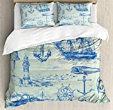 Ambesonne Nautical Anchor Duvet Cover Set King Size, Whale Sail Boat Steering Wheel and Old Lighthouse Fishing Theme Sketchy, Decorative 3 Piece Bedding Set with 2 Pillow Shams, Blue Eggshell