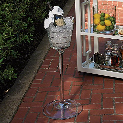 Luxe Standing Floor Footed Ice Bucket | Wine Chiller Glass Crystal
