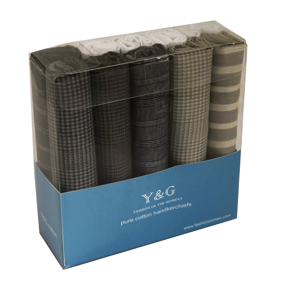 Y&G YED0202 Stripes 10 Piece In Present BoxHandkerchiefs For Men - Brown,White,Grey