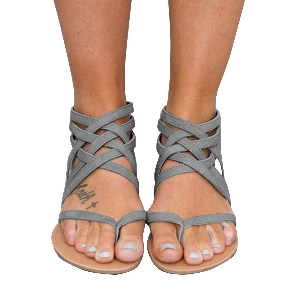 Xiakolaka Womens Cross Strap Sandals Flip Flop Ankle Buckle Gladiator Flat Shoes