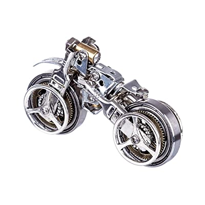 Haoun 3D Metal Puzzle for Kids and Adults, DIY Assembly Car Model Stainless Steel Model Kit Jigsaw Puzzle Brain Teaser Mechanical Educational Toy, Desk Ornament - Motorcycle: Toys & Games
