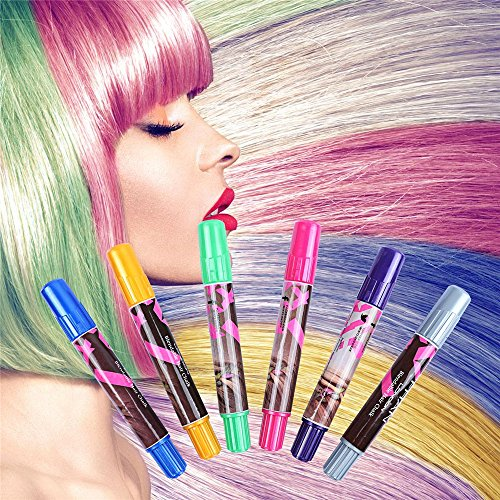 IVYRISE 6PCS Hair Chalk Pens Temporary Color Non-Toxic Hair Coloring Dye Set for All Ages Girls Christmas Gift Birthday Present (Presents Christmas In Colouring)