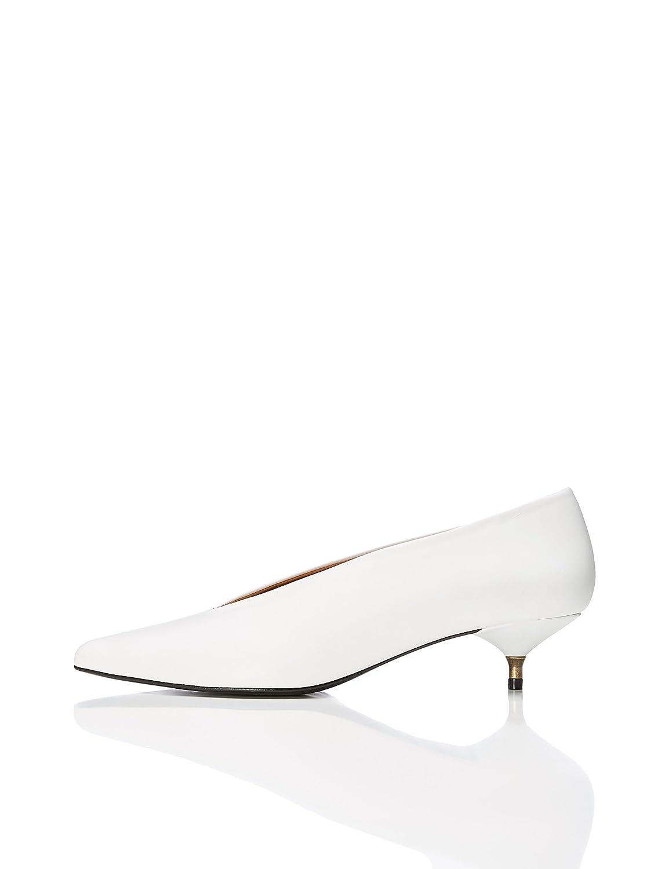TALLA 38 EU. find. Zapatos de Piel con Tacón Kitten Mujer