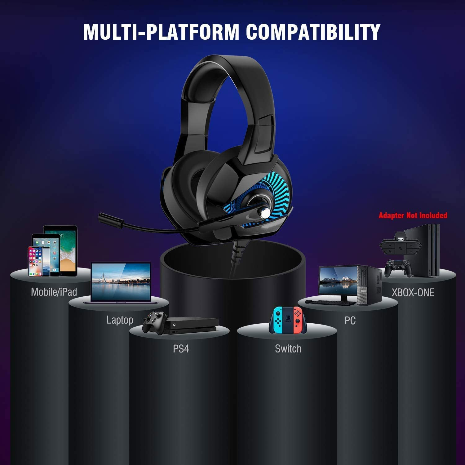 Color : Green MQQ Wired Gaming Headset for 4D Noise Cancelling Bass Sound 7.1 Surround Sound with 50mm Driver Chroma Backlit Protein Earmuffs for PS4 Xbox One PC