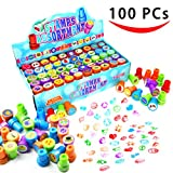 Toys : 100 Pieces Assorted Stamps for Kids Self-ink Stamps (50 DIFFERENT Designs, Plastic Stamps, Emoji Stampers, Dinosaur Stampers, Zoo Safari Stampers) for Party Favor, School Prizes, Teacher Stamps