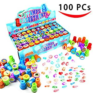 100 Pieces Assorted Stamps for Kids Self-ink Stamps (50 DIFFERENT Designs, Plastic Stamps, Emoji Stampers, Dinosaur Stampers, Zoo Safari Stampers) for Party Favor, School Prizes, Teacher Stamps