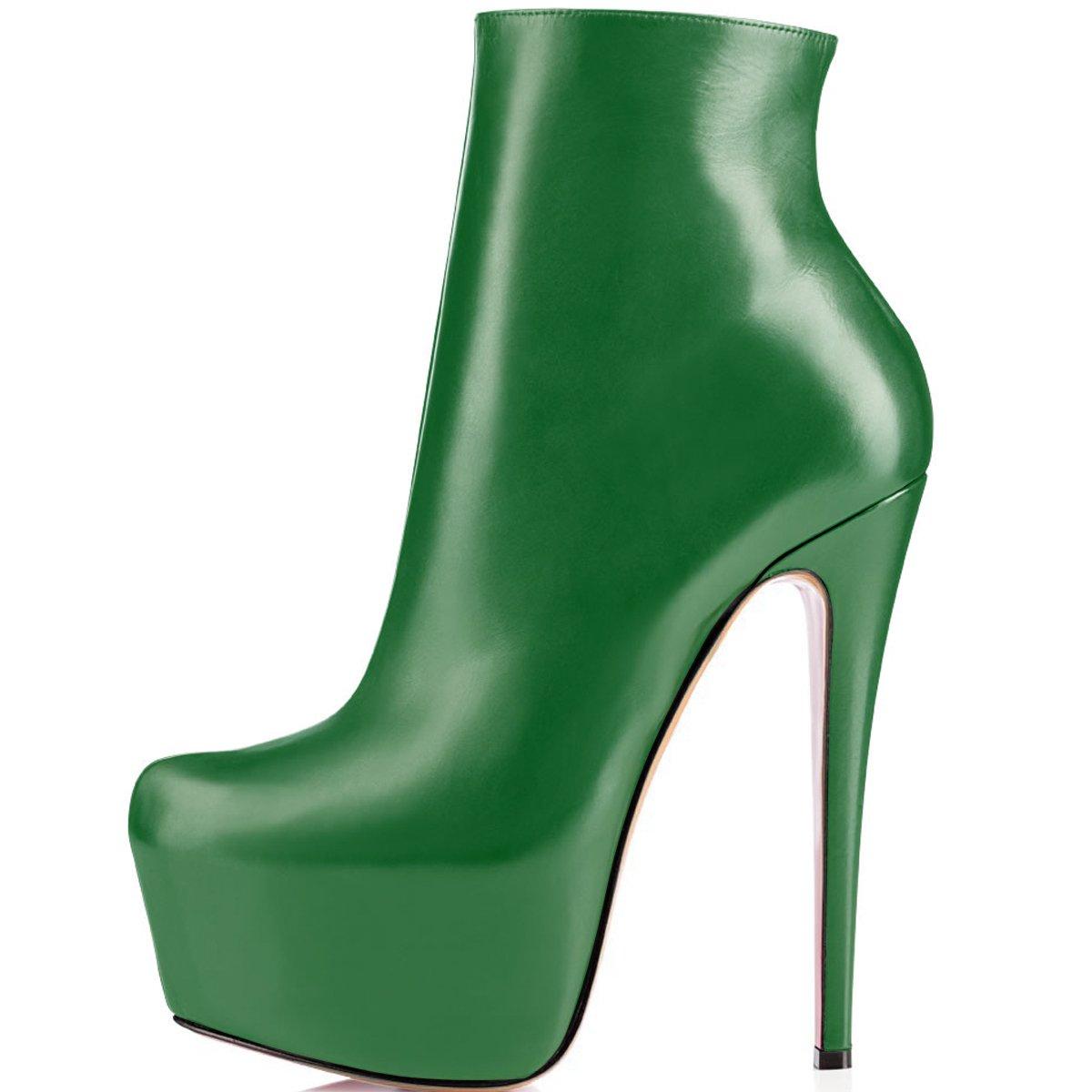 ELASHE Ankle Boots | 15cmTrendige Damen Stiefeletten | Plateau Stiefel mit Absatz36 EU|Gr眉n